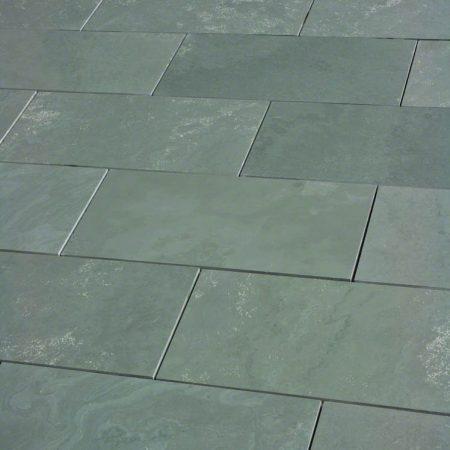 8X16 tiles of honed Brazil Green slate.